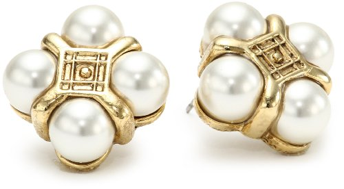 Antiquities Couture Antique Gold Pearl Quartet Button Stud Earrings