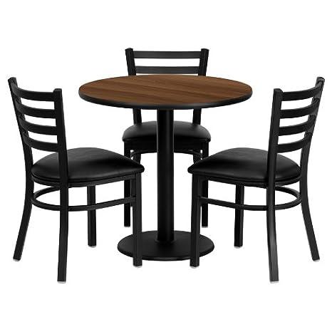 30'' Round Walnut Laminate Table Set of 3 Ladder Back Metal Chairs Black Vinyl Seat