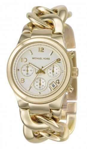 Michael Kors Ladies Watch with Gold Colour Bracelet Strap and White Face
