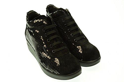 ALBANO donna sneakers alte con zeppa 105 CLAS PAILETTES 38 Nero