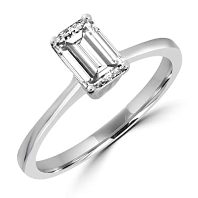 7/8 CT Emerald Cut Diamond Solitaire Engagement Ring in 14K White Gold