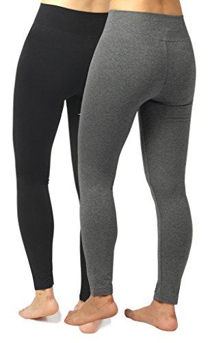 4How 2Pack Women's Casual Pant Trainning Leggings Black +Grey US S