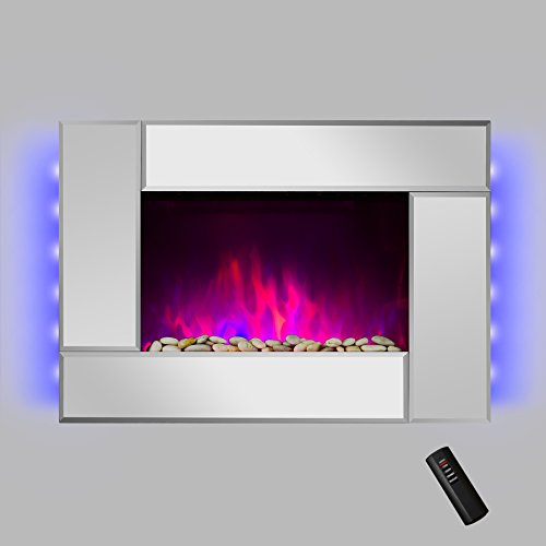 "AKDY® 36"" Wall Mount Tempered Glass Mirror Finish Colorful LED Backlights Adjustable 1500W 5200 BTU 2 Setting Log Set Electric Fireplace Stove w/ Remote"
