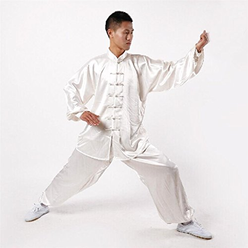 Andux Chinese Traditional Tai Chi Uniforms Kung Fu Clothing Unisex SS-TJF01 White (L)