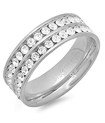 YourJewelleryBox 661-040-R CHANNEL SET DOUBLE MENS WOMENS SIMULATED DIAMONDS 7MM WEDDING RING BAND
