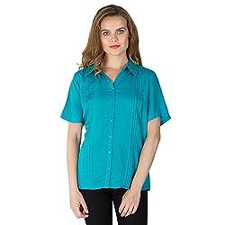 Instict Women's Rayon Shirts (AM030321_L, Sea Green, Large)