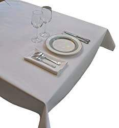 White Square Tablecloth Heavy Woven Polyester 52X52 - Commercial Grade