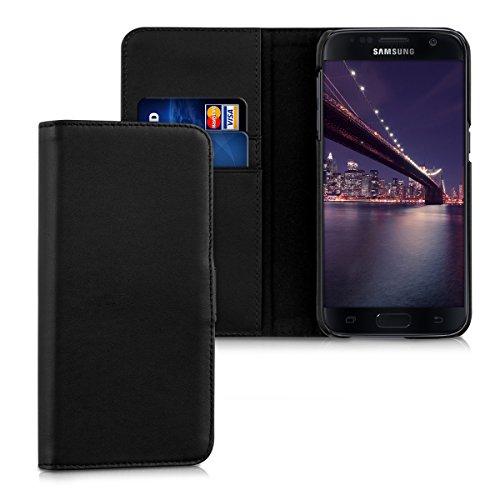 kalibri-Leder-Hlle-James-fr-Samsung-Galaxy-S7-Echtleder-Schutzhlle-Wallet-Case-Style-mit-Karten-Fchern-in-Schwarz
