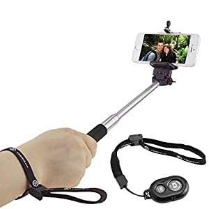 Extendable Selfie Stick with Bluetooth Remote by CamKix® - With Universal Phone Holder Suitable for iPhone, Samsung, and Other Devices up to 3.25 Inches in Width - Fully Adjustable Handheld Monopod 11