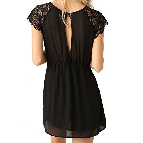 Cylyfmia Women's Casual Backless Chiffon Lace O Neck Short Sleeve Summer Dress (L, 6881)