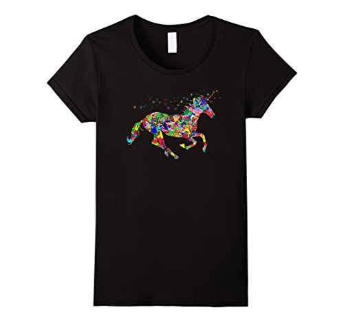Women's Rainbow Unicorn T-shirt XL Black