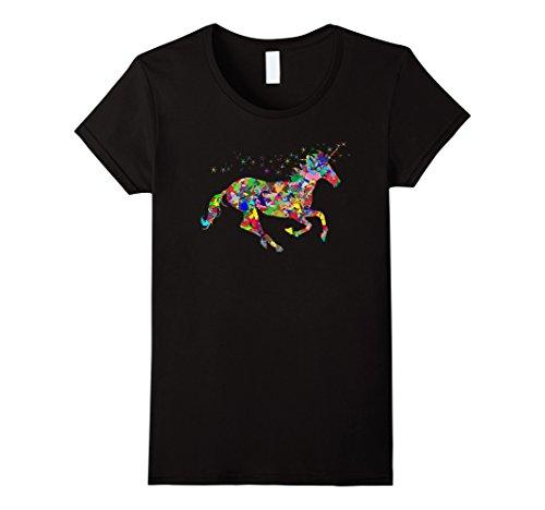 Women's Rainbow Unicorn T-shirt XL Black