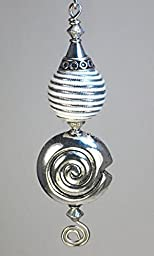 White with Silver Fabric Sphere and Silver Swirl Shell Ceiling Fan Pull / Light Pull Chain
