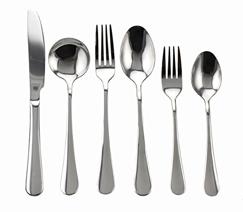 Zicome 24-piece Stainless Steel Flatware Set - Forks Knives Spoons Silver Silverware Cutlery Dinnerware Tableware Set, Service for 4