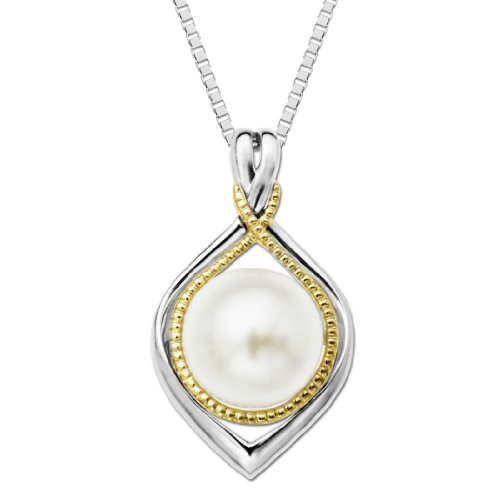 S&G Sterling Silver and 14k Yellow Gold Framed Freshwater Cultured Pearl Pendant Necklace, 18