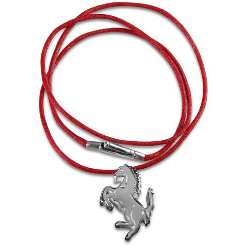Ferrari silver Prancing Horse pendant - red string red