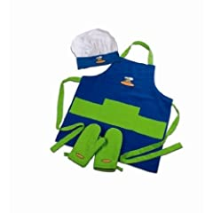 Child Chef Apron Set - Blue & Green