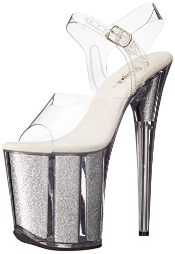 Pleaser FLAM808G/C/S Women's Platform Dress Sandal, Clear/Silver Glitter, 6 M US