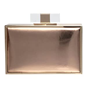 Accessoryo Women's Champagne and Bronze Metallic Box Clutch Bag One Size Bronze