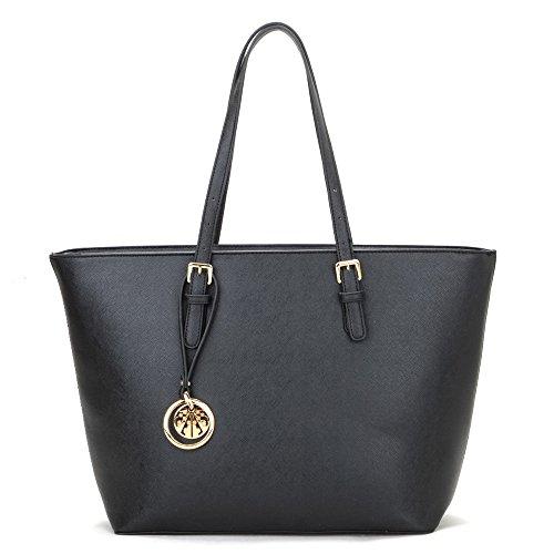 Black Leather Look Designer Inspired Tote Bag