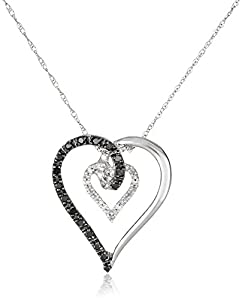 10k White Gold Black and White Heart Diamond Pendant Necklace (1/6 cttw), 18""
