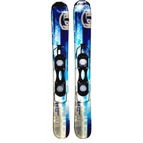 "Amazon.com : O5 ""985"" Wide Snow Blades mini skis & Bindings 99cm Blue"