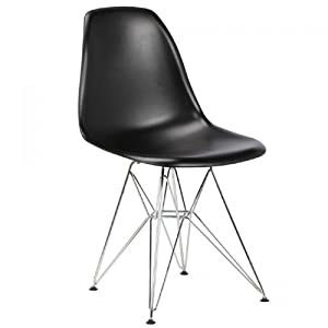 Charles Eames Style DSR Plastic Moulded &'Eiffel&' Chair (set of four) Black ABS   Plastic       Customer review and more information