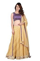 BanoRani Purple & Beige Color Banarasi Silk & Net Self Design with Zari & Lace work Unstitched Lehenga Choli