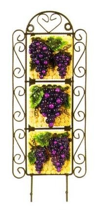 TUSCANY GRAPES 3-D 3 Tile Metal Wall Hanger Key Hook Towel Rack