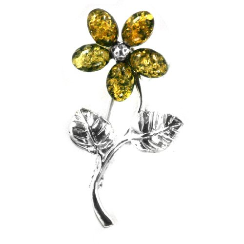 Baltic Green Amber Sterling Silver Little Museum Collection Flower Pin 19th Century