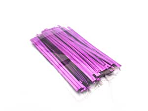 100 Classikool Purple Metallic Twist Ties 3 Inch Plastic Wire Cake Pop Garden