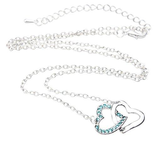Niceeshop(Tm) Heart To Heart Crystal Rhinestone Pendant Necklaces,Sea Blue