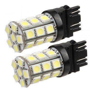 2 T20 3157 Pure White 5050 Smd 27 Led Tail Backup Turn Signal Light Bulb
