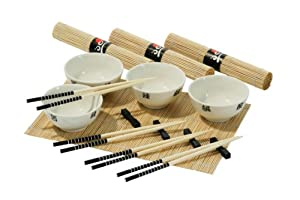 Premier Housewares 16-Piece Chinese Dining Set - 4 White Bowls/ 4 Chopsticks/ 4 Rests/ 4 Mats