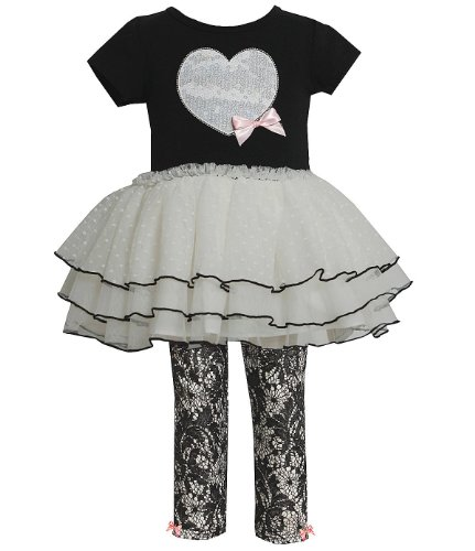 Bonnie Jean Little Girl's Black Ivory Heart Legging Set