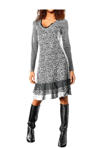 Linea Tesini Damen-Kleid Jersey-Kleid mit Spitze grau