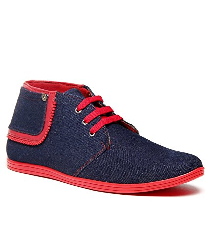ZAPATOZ Denim Red Zipper Ankle Length Lace Up Boots