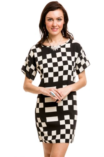 Abstract Checker Print Dress In Black
