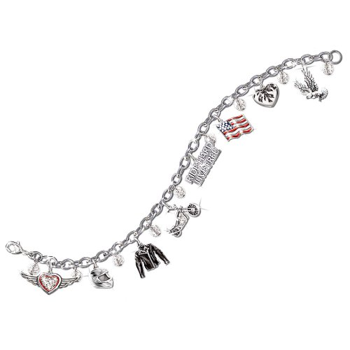 Motorcycle Jewelry With Symbols Of Freedom: Ride Hard, Live Free Charm Bracelet by The Bradford Exchange