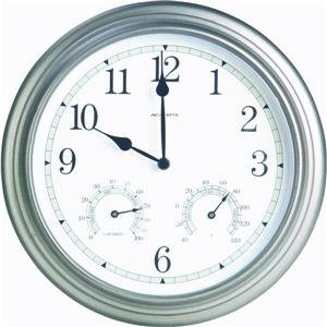 Chaney Instrument 14-Inch Pewter Clock/Thermometer/Hygrometer