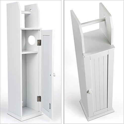 Armadietto in legno bianco con portarotolo e - Porta carta igienica da terra ...