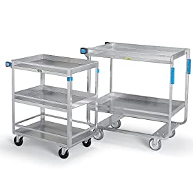 LAKESIDE Stainless Steel Utility Carts with Guard Rails