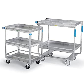 "Lakeside Stainless Steel Utility Carts With Guard Rails - 33""Wx21""D Shelf - 3 Shelves"