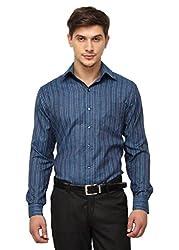 Copperline Blue Striped Slimfit Fullsleeves Cotton Shirts.