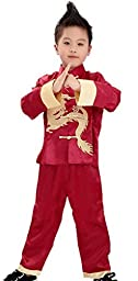 Bigood Performance Outfit Kung Fu Long Sleeve Suits Martial Boys 4 Red