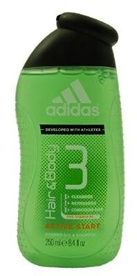 Adidas Active Start, Hair & Body 3, Shower Gel & Shampoo for Men, 8.4 Oz (Pack of 3)