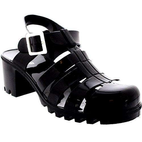 Womens Buckle Jelly Festival Vacation Retro Gladiator Mid Heel Sandals - Black - 7 - 38 - CD0111