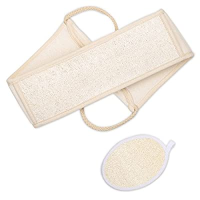 Plemo Exfoliating Loofah Back Scrubber and Body Sponge for Men & Women, Natural Shower Back and Mitt Pad for Clear Skin
