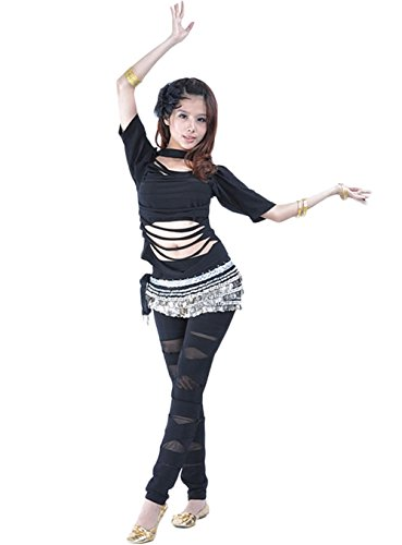 AveryDance Belly Dance Practice Costume Black Egyptian Top Shirt with Lace Pants