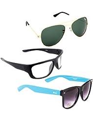 Elligator Stylish Aviator Gold Green And White Nightvision With Blue Wayfarer Sunglasses Combo ( Set Of 3 )